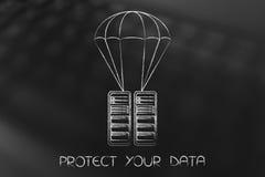 Server su un paracadute, su una protezione dei dati e su un appoggio illustrazione vettoriale