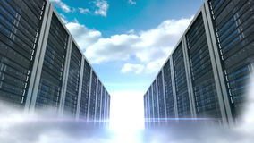 Server tower on cloudy sky background stock footage