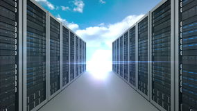 Server tower on cloudy sky background stock video footage