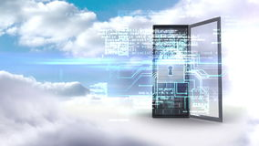 Server tower protecting by electronic security on cloudy sky background stock footage