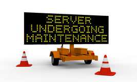 Server undergoing maintenance. Black signboard on the top of a roadworks cart saying Undergoing maintenance Royalty Free Stock Image