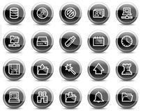Server web icons, black glossy circle buttons. Vector web icons, black glossy circle buttons series