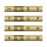 Server web icons on bronze bar. Web icons on bronze bar. Vector file has layers, all icons in two versions are included Stock Photo