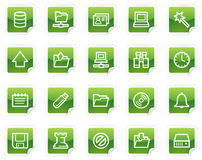 Server web icons, green sticker series Royalty Free Stock Image