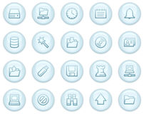 Server web icons, light blue circle buttons series Stock Photography