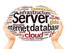 Server word cloud hand sphere concept vector illustration