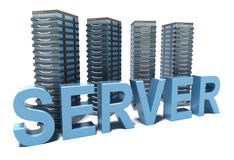 Server word in front of grey Servers Royalty Free Stock Images