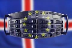 Serverbegrepp Europa och Island Royaltyfria Bilder