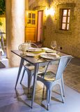 Servered table in restaurant Stock Images