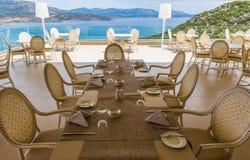 Servered table in restaurant Stock Photo