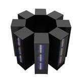 Serveren racks ordnat i klunga Arkivbilder