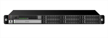 Serveren 1u för montering in i en 19 tum kugge med sex 2 5 tum hårddiskar och en CD-brännare vektor illustrationer