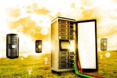Servergestell mit Netzkabel lizenzfreie stockfotografie