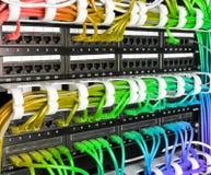 Servergestell mit Regenbogeninternet-Verbindungskabelkabeln Lizenzfreies Stockbild