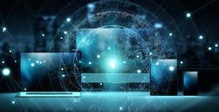 Serverinterface wereldwijd over het moderne technologie-apparaten 3D teruggeven stock illustratie