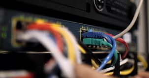 Serverkabel und -lampen stock footage