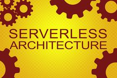 Serverless Architecture concept. SERVERLESS ARCHITECTURE sign concept illustration with red gear wheel figures on yellow background Stock Image