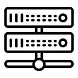 Serverlinje symbol Maskinvaruvektorillustration som isoleras på vit Design för dataöversiktsstil som planläggs för rengöringsduk  fotografering för bildbyråer