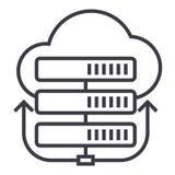Serveror knyter kontakt, molnvektorlinjen symbolen, tecknet, illustration på bakgrund, redigerbara slaglängder Fotografering för Bildbyråer