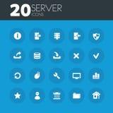 Serverpictogrammen op ronde blauwe knopen Stock Foto