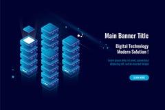 Serverraum, große Datenverarbeitung der isometrischen Ikone, Daten bewölken Speicherlager, das bewirten und virtuelle Datenbankko lizenzfreie abbildung