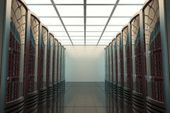 Serverraum, Telekommunikation, Datenschutz, 3d Stockfoto