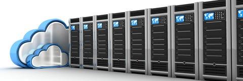 Serverrij en wolk Stock Afbeelding