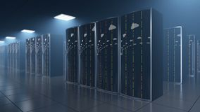 Serverruimte in datastore met wolkenbezinning stock footage