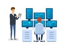 Serverruimte, die de werkplaats van de netwerkbeheerder ` s uitrusten, controlerend gegevensbestand vector illustratie