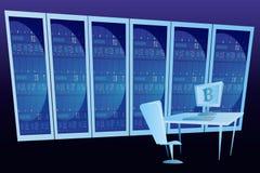 Serverruimte mijnbouw extractie Concept Stock Foto's