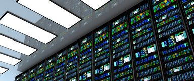 Serverrum i datacenter, rum som utrustas med dataserveror Arkivbild
