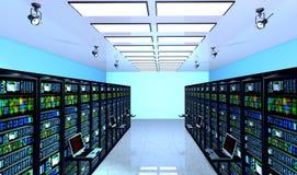 Serverrum i datacenter, rum som utrustas med dataserveror Royaltyfri Foto
