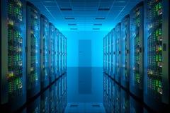 Serverrum i datorhall Royaltyfri Bild