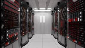 Serverrum- och kuggeserveror med serverfel lager videofilmer