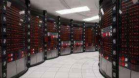 Serverrum- och kuggeserveror med serverfel stock video