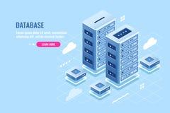 Serverrum, vara värd för webbplats, molnlagring, databas och isometrisk symbol för datorhall, digital teknologi för blockchain royaltyfri illustrationer