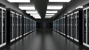 Serverrumdatorhall Datacenter maskinvaruklunga Reserv- och att vara v?rd, v?rddator, lantg?rdkugge med information om lagring royaltyfri illustrationer
