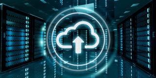Serverrumdatorhall med tolkningen för molnblåttsymbol 3D Arkivfoto