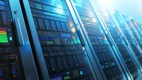 Serverruminre i datacenter stock video