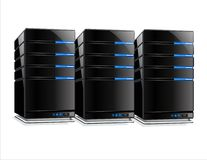 Servers. 3 black servers are placed in a row. Background is white Royalty Free Illustration