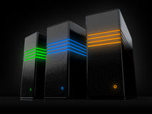 Servers. With luminous lines on a black background Royalty Free Stock Photography
