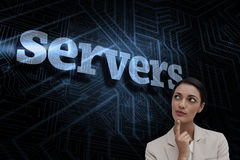 Servers against futuristic black and blue background Stock Image