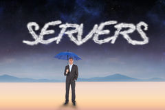 Servers against serene landscape Stock Images