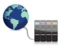 Servers connected to earth. Abstract presentation of the server on earth illustration Royalty Free Stock Images