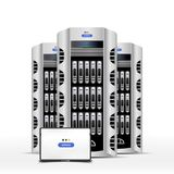 Servers data center on blue background. Cloud computing concept . Flat  illustration EPS 10 Stock Photography