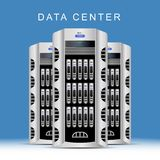 Servers data center on blue background. Cloud computing concept . Flat  illustration EPS 10 Stock Photo