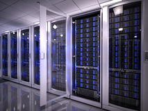 Servers in data center. 3d render Stock Photography
