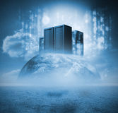 Servers on earth. With matrix Stock Photography