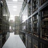 Servers en de foto van het de computertechnologieconcept van de hardwareruimte Stock Fotografie