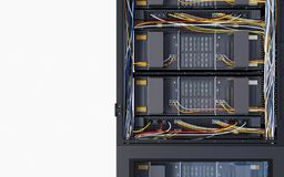 Servers en de foto van het de computertechnologieconcept van de hardwareruimte Stock Afbeeldingen